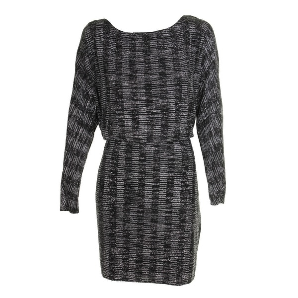 137dd618d28b7 Shop Jessica Howard Black Silver Metallic Blouson Sheath Dress 14P ...