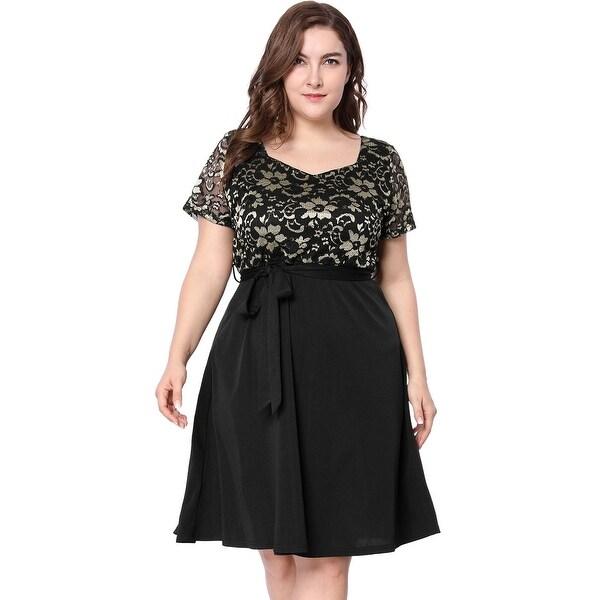 Allegra K Women Plus Size Square Neck Belted Floral Lace Panel Summer Dress - Black