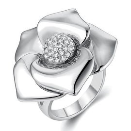 White Gold Plated Blossoming Floral Petal Ring