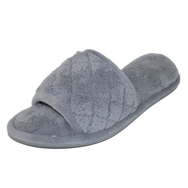 Dearfoams Women's Microfiber Open Toe Terry Slide Slippers