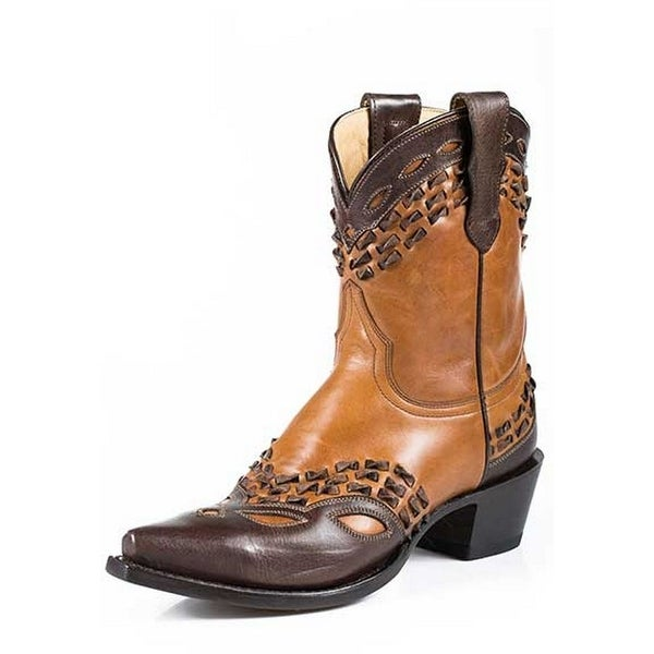 Stetson Western Boots Womens Ankle Snip Toe Tan