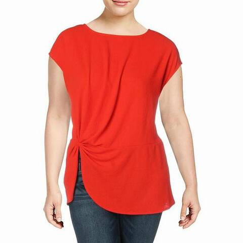Vince Camuto Women's Top Bright Red Size 3X Plus Knit Side Cinch