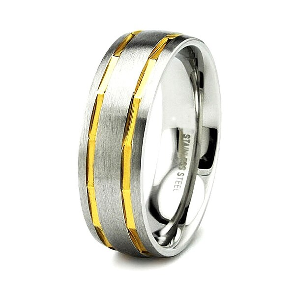 Satin Finished Stainless Steel Ring with Gold Plated Grooves 7mm (Sizes 8-12)