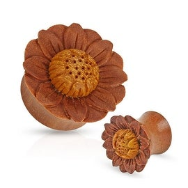 Lotus Flower Hand Carved Organic Sawo Wood Saddle Fit Plug (Sold Individually)