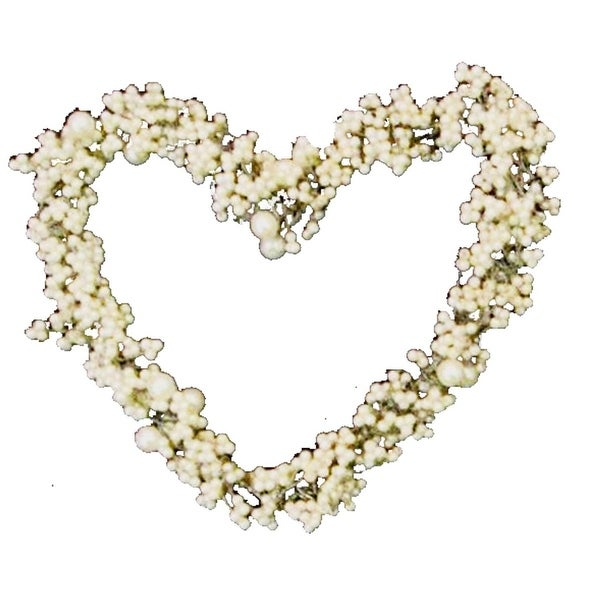 Set of 4 White Pearls and Beads Large Heart Christmas Ornaments 4""