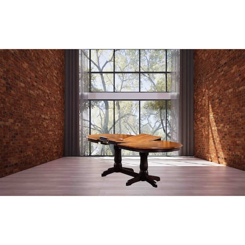 """Oval Dining Table, 42"""" x 66""""x 78""""x 90"""", Double Pedestal Whiskey Mocha - N/A"""
