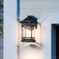 """Luxury Rustic Outdoor Wall Light, 11""""H x 7""""W, with Colonial Style, Wrought Iron Design, Black Silk Finish"""