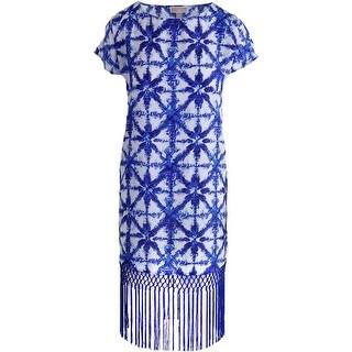 MICHAEL Michael Kors Womens Printed Fringe Cocktail Dress - L