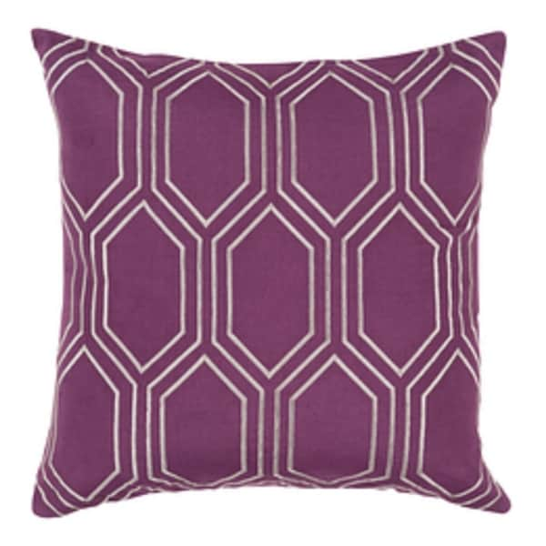"""22"""" Royal Purple and Silvery Gray Linen Decorative Throw Pillow"""