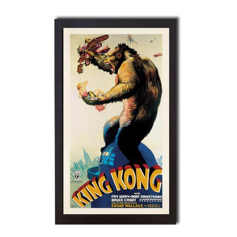 King Kong by Anonymous Black Floater-Framed Canvas Giclee Art (26 in x 14 in Framed Size)