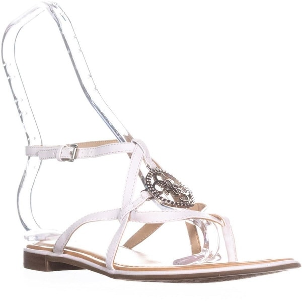 G by GUESS Romie Open Toe Casual Ankle Strap Sandals, White
