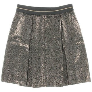 Vince Camuto Womens Metallic Box Pleat A-Line Skirt