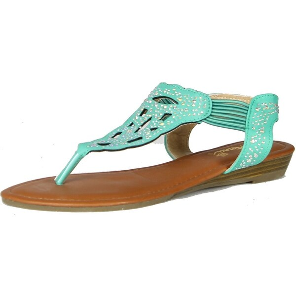 Anna Womens Chic-3 Rhinestone Embellished T-Strap Ankle Strap Flat Thong Sandal