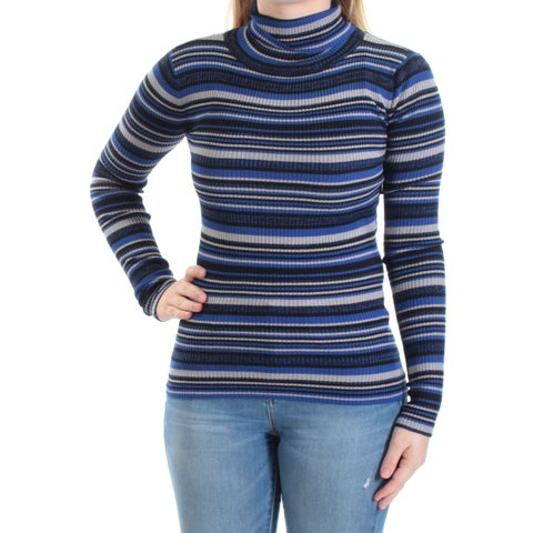 Womens Blue Striped Long Sleeve Turtle Neck Casual Top Size S