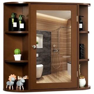 Costway Multipurpose Mount Wall Surface Bathroom Storage Cabinet Mirror Brown