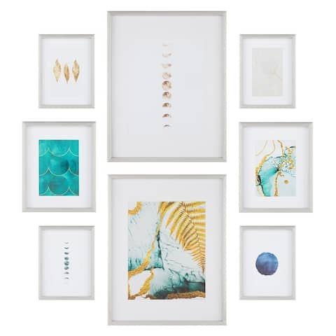 8 Piece Gallery Wall Frame Set with Decorative Art & Hanging Template