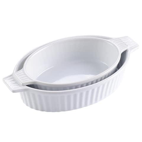 2-Piece White 9.5'' &11.25'' Oval Porcelain Bakeware Set Baking Dishes