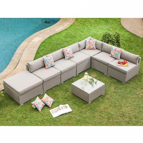 COSIEST 8-Piece Outdoor Furniture Set Wicker Sectional Sofa With Cushions