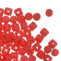 Czech Glass Minos par Puca, Cylindrical Beads 2.5x3mm, 120 Pieces, Opaque Coral Red