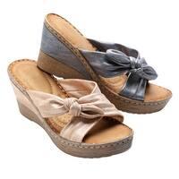 """Gc Shoes Woman's Sandals - Metallic Look Faux-Tie Upper, 1 1/2"""" Wedge Heel Shoes"""