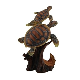 Two Swimming Sea Turtles Decorative Faux Carved Wood Look Statue - Brown