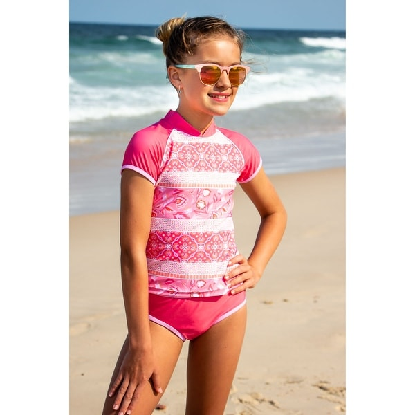 Sun Emporium Indian Summer Print Rash Guard Bikini Set Little Girls. Opens flyout.
