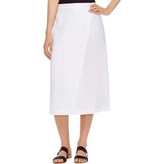 Eileen Fisher Womens A-Line Skirt Linen Faux-Wrap