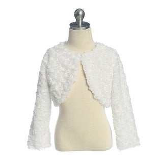 Little Girls White Swirl Faux Fur Special Occasion Shrug Jacket 2-6