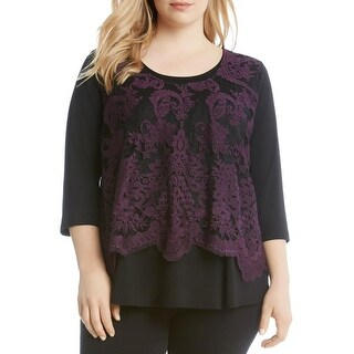 Karen Kane Womens Plus Casual Top Lace Overlay Tiered