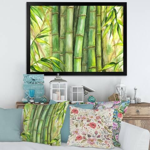 Designart 'Bright Green Bamboo Stems' Transitional Framed Art Print