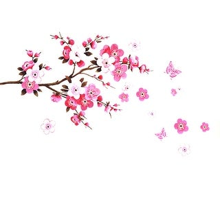Peach Blossom Flower Butterfly Pattern Room Wall Sticker Decal Decor - Multicolor