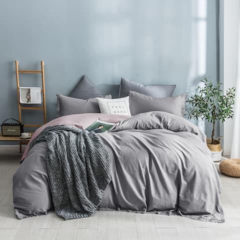 Beaute Living Garment Washed Cotton Duvet Cover Set
