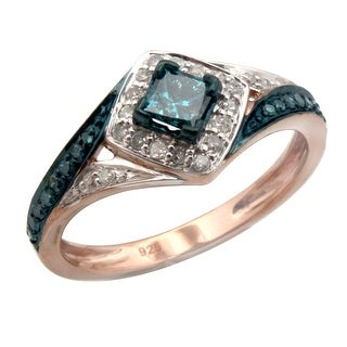 Princess and Round Blue Diamond & Diamond Engagement Ring - White G-H