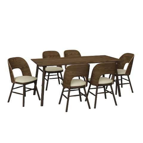 Carson Carrington Janega 7-piece Rectangular Table and Armless Wood Barrell-Back Dining Chairs