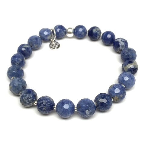"Blue Sodalite Eve 7"" Sterling Silver Stretch Bracelet"