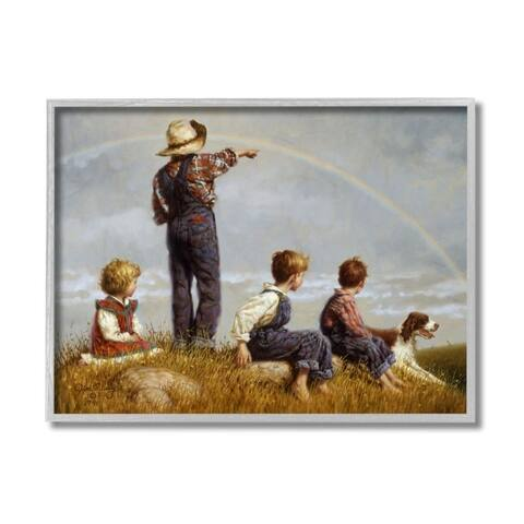 Stupell Industries Children in Meadow under Rainbow with Dog Framed Wall Art