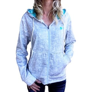 Under Armour Womens Coldgear XL White/Grey Graphic Logo Zip-Up Hoodie