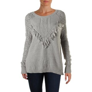 Autumn Cashmere Womens Fringe Open Stitch Pullover Sweater