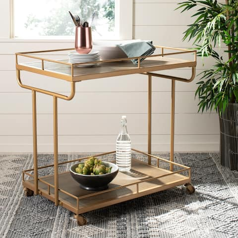 "Safavieh Dawson 2 Tier Rect Bar Cart-Rustic Oak / Gold - 32"" x 21"" x 32"""