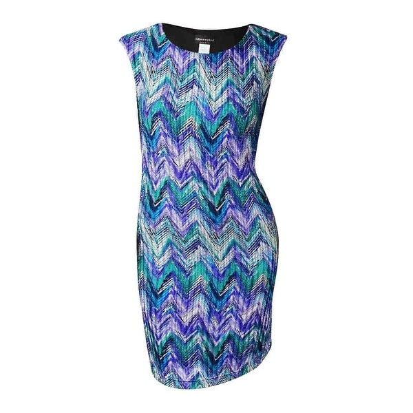 Connected Women's Chevron Textured Print Stretch Dress - Purple