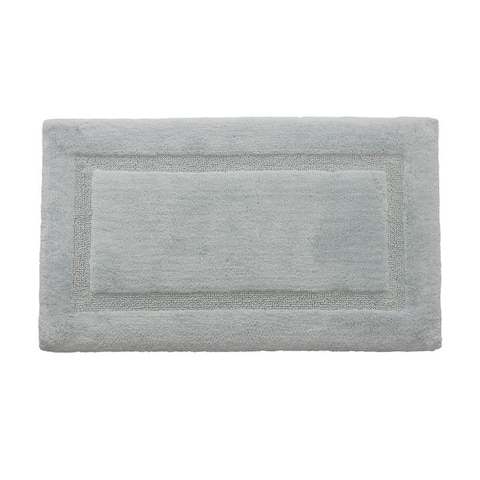 Alessi Border Ringspun Cotton White 20 in. x 32 in. 2-Piece Bath Rug Set