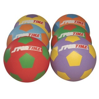 Sportime Max Size 4 PGSoccer Balls, Multiple Colors, Set of 6