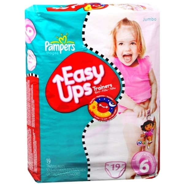 Pampers Easy Ups Training Pants Girls Size 6 19 Each [4 packs per case]
