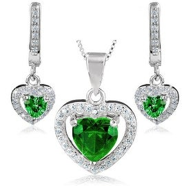 """Sterling Silver Green Heart Cubic Zirconia Halo Dangling Earrings and Necklace 18"""" Set"""