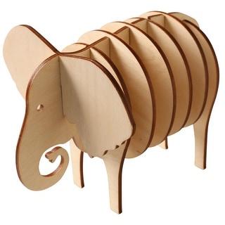 "Elephant 4 Coaster Set - Birch Wood - 5.5"" High"