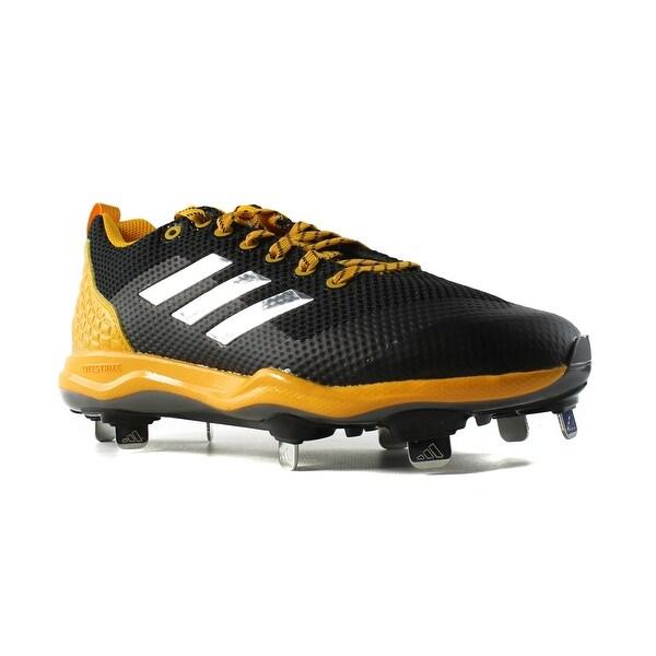 26e0c0a78 Adidas Mens Poweralley 5 Black MetallicSilver CollegiateGold Cleats Shoes  Size 7 New