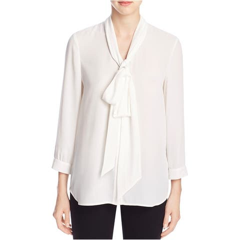 Finity Womens Tie Neck Button Up Shirt