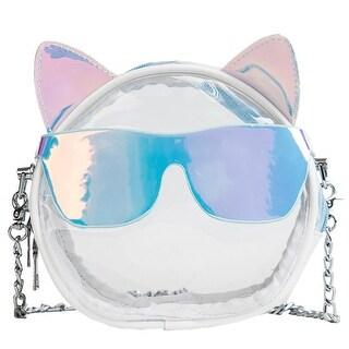 QZUnique Women Cat Ear with Sunglasses Style Clear Jelly Chain Crossbody Purse Shoulder Handbag Messenger Bag