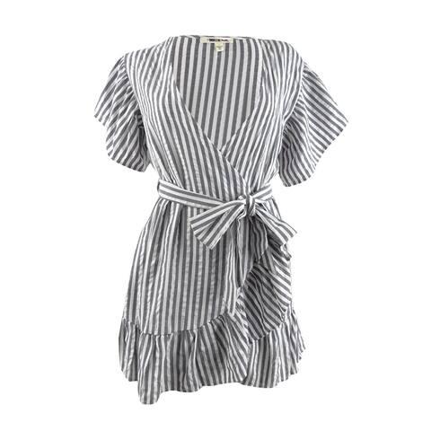 Miken Women's Striped Wrap Dress Swim Cover-Up - White Black