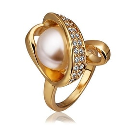Gold Plated Blossoming Pearl Twisted Ring
